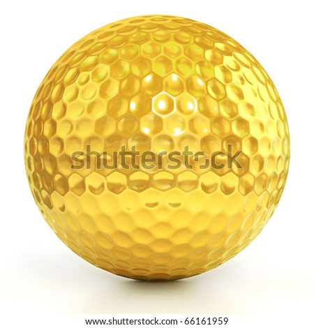 golden golf ball isolated over white background - stock photo