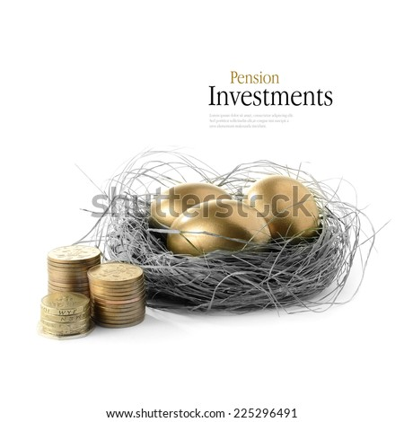 Golden goose eggs placed in a authentic looking grass nest against a white background with the image coloured bronze and greyscale. Concept image for pension savings and investments. Copy space. - stock photo