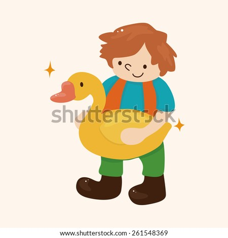 Golden Goose with little boy theme elements - stock photo