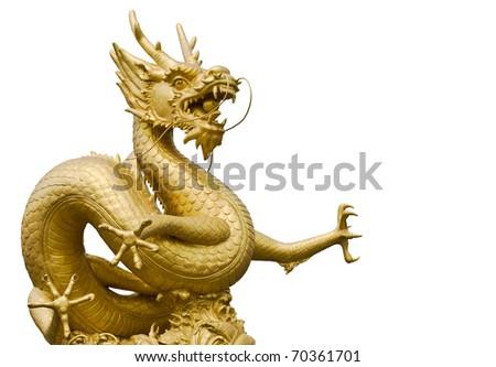 Golden gragon statue in white background - stock photo