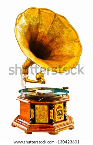 Golden gramophone isolated on white. Clipping path included. - stock photo