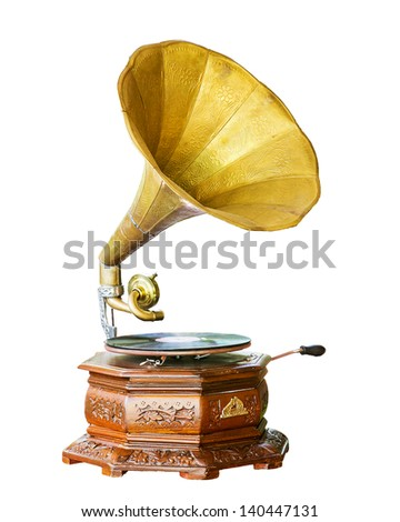 Golden gramophone isolated on white. Clipping path included - stock photo