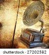 golden gramophone - vintage background - stock photo