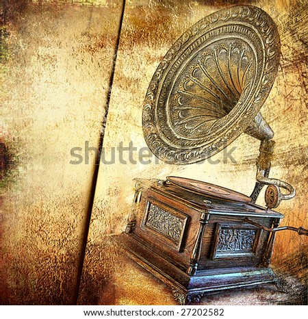 golden gramophone - vintage background - stock photo