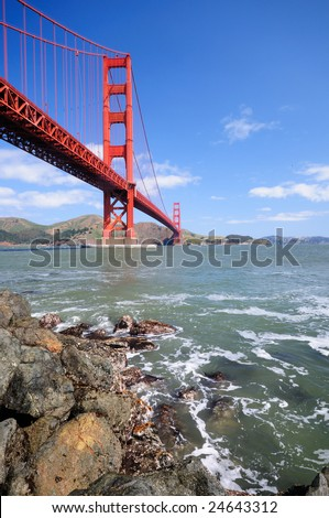 Golden Grate Bridge on a gorgeous spring morning. Shot from Fort Point. - stock photo