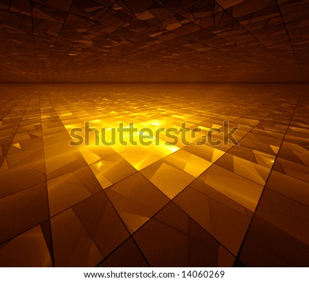 Golden Grid - fractal illustration - stock photo
