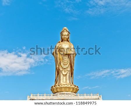 Golden Guan Yin - stock photo