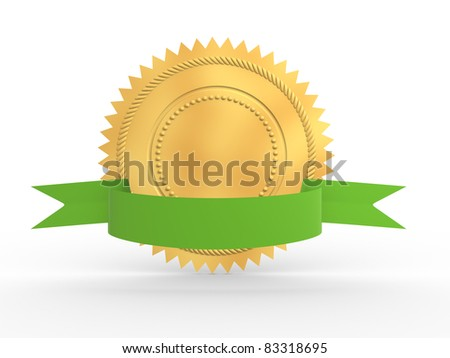 Golden guarantee medal with green bow isolated on white. 3d render illustration - stock photo