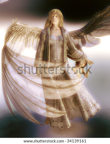 Golden Guardian Angel with feathered wings reaches back to touch the hand of a young child.