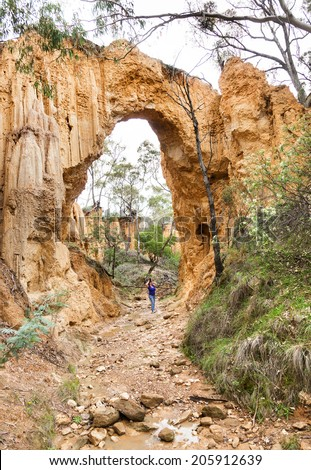 Golden Gully arch at historic Hill End nsw Australia. Dug out by gold miners erosion did rest. - stock photo
