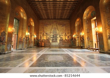 Golden hall room inside the City Hall in Stockholm where the Nobel prize winners are thrown a dinner and dance banquet - stock photo