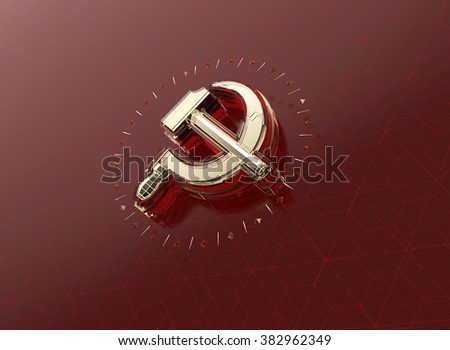 golden hammer and sickle with fractures and glowing edges on high tech dark red background. News Id style background, political template. High quality 3d render. - stock photo