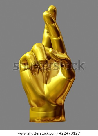 golden hand gesture, fingers crossed, wish for luck, 3d illustration - stock photo
