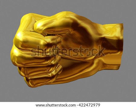 """golden hand gesture, """"Press thumb"""", German version for somebody to get luck in a difficult situation, 3D illustration - stock photo"""