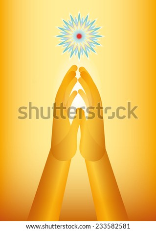 golden hands praying with a flower as symbol of spirituality - stock photo