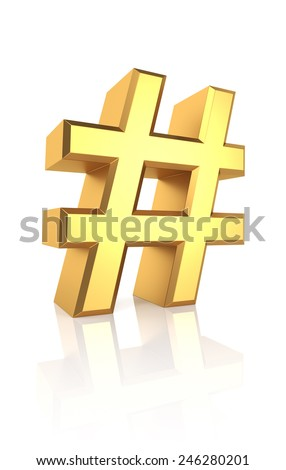 Golden hash symbol isolated on white background. 3d render - stock photo
