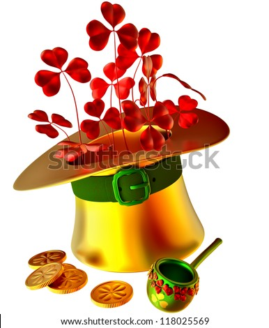 golden hat, red shamrocks and set of gold coins as a symbol of wealth - stock photo