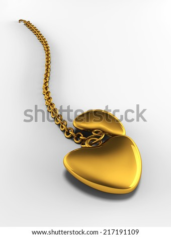 Golden Heart Chain - stock photo