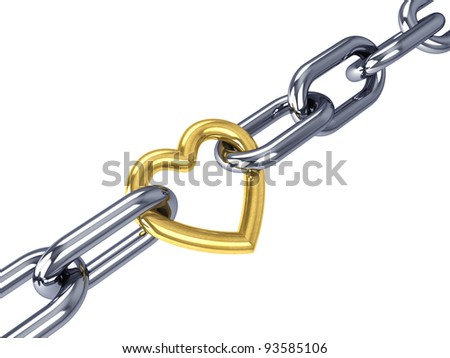 Golden heart link in a chrome chain, isolated on white - stock photo