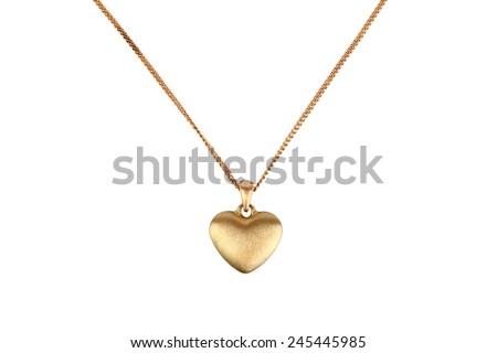 Golden heart pendant isolated on white - stock photo