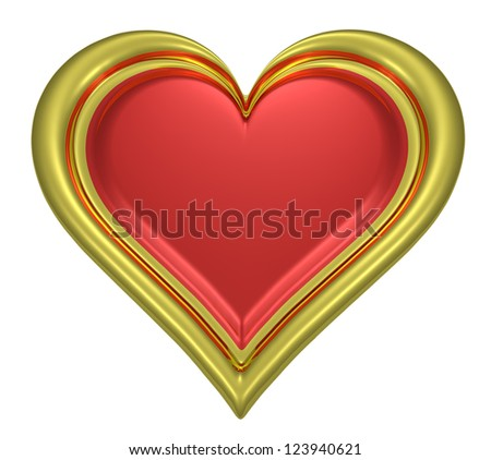 Golden heart pendant with red middle isolated on white background - stock photo