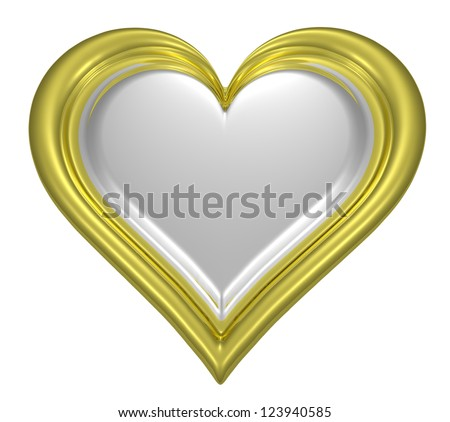 Golden heart pendant with silver middle isolated on white background - stock photo