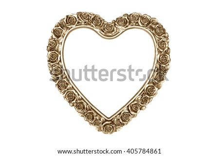Golden heart picture frame isolated on white with clipping path. - stock photo