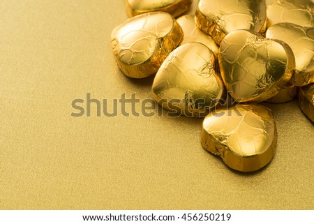 Golden heart-shaped chocolate