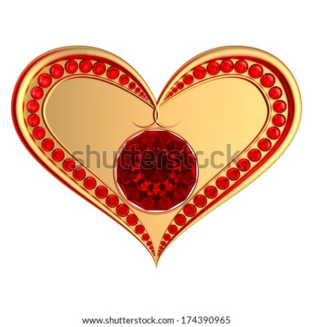 Golden heart with ruby gems isolated on a white background