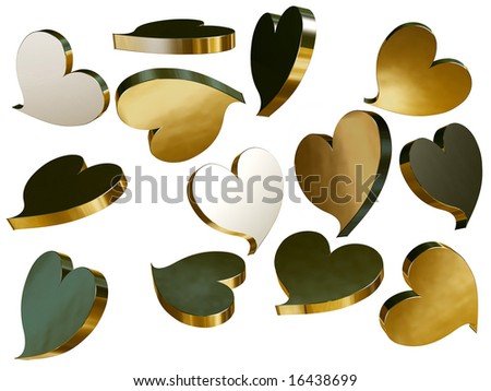 Golden hearts isolated over a white background