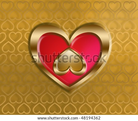 golden hearts on a patterned golden background