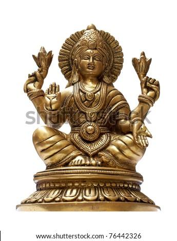 Golden Hindu God Vishnu over a white background - stock photo