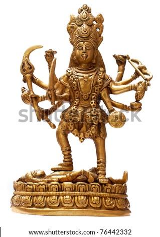 Golden Hindu Goddess Kali isolated over white - stock photo