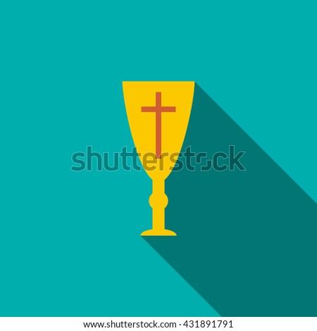 Golden holy chalice icon, flat style - stock photo