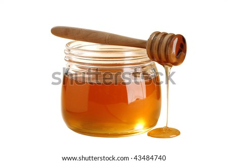 golden honey isolated on white background - stock photo