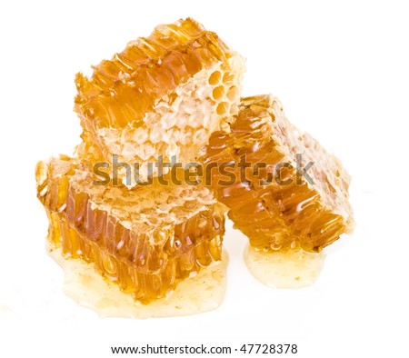 Golden honeycomb wax cell detail slice isolated on white background