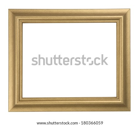 Golden horizontal frame with space for photo on white background