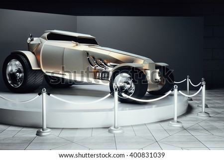Golden Hot Rod car in showcase on grey background. 3D Rendering - stock photo