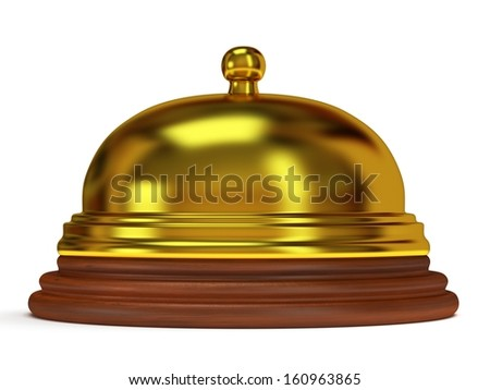 Golden hotel reception bell with metal body on wooden base. 3d render. Vacation, travel, service concept.