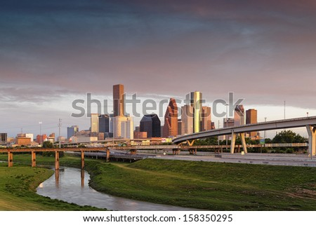 Golden Hour Light kissing Downtown Houston - stock photo
