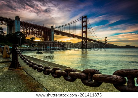 Golden hour of Golden Gate Bridge - stock photo