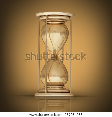 golden hourglass sand clock. High resolution 3D collection of gold objects