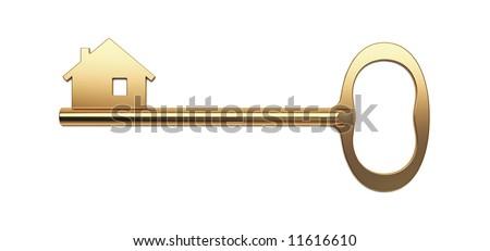 Golden House Key - Mortgage symbol - stock photo