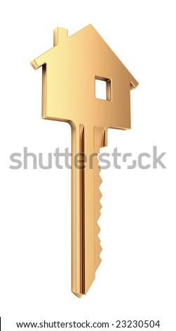 Golden House Key - Mortgage symbol - more house keys in my portfolio - stock photo