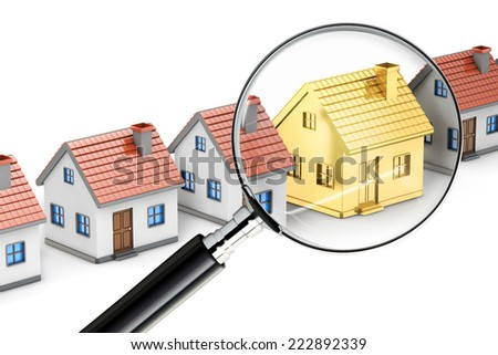 golden house search magnifying glass isolated white background - stock photo