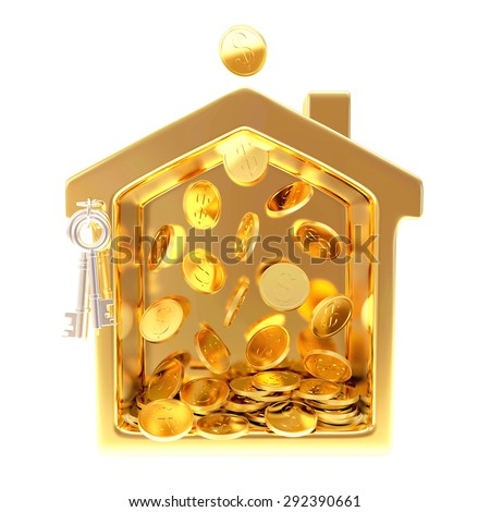 Golden house with falling coins isolated on white background - stock photo