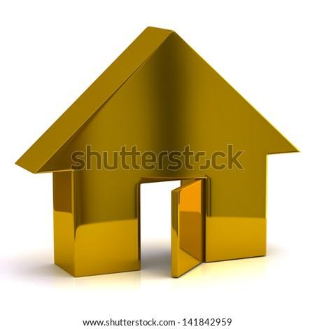 Golden house with open door - stock photo