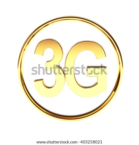 Golden icon with 3G symbol mobile wireless communication isolated on white background. 3d illustration - stock photo