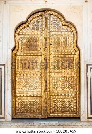 golden indian door - stock photo