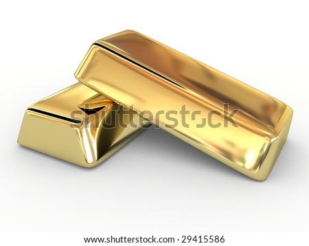 Golden ingot - stock photo